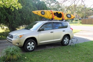 Secure kayak straps.