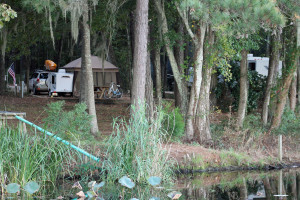 Campsite on the shore of Lake Seminole.